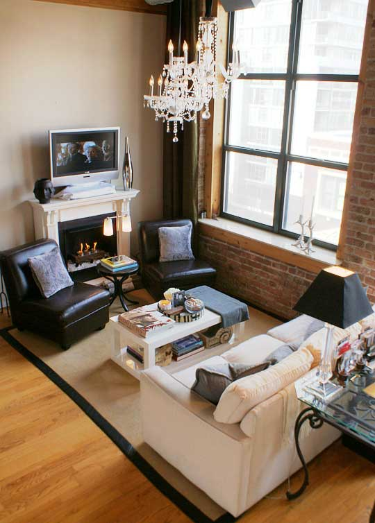 Working with a long narrow living room emily a clark for How to arrange living room furniture with fireplace and tv