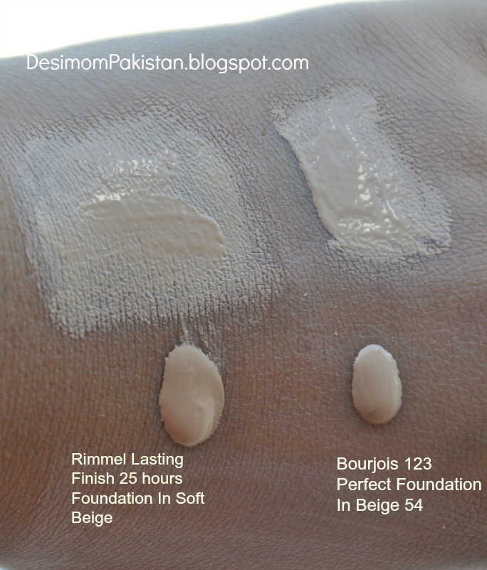 RIMMEL  LASTING FINISH 25 HOUR FOUNDATION in soft beige.Comparison swatch with Bourjois 123 Perfect in beige