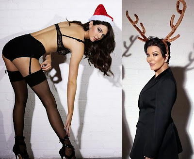 Kendall Jenner Christmas reindeer sexy hot with mom