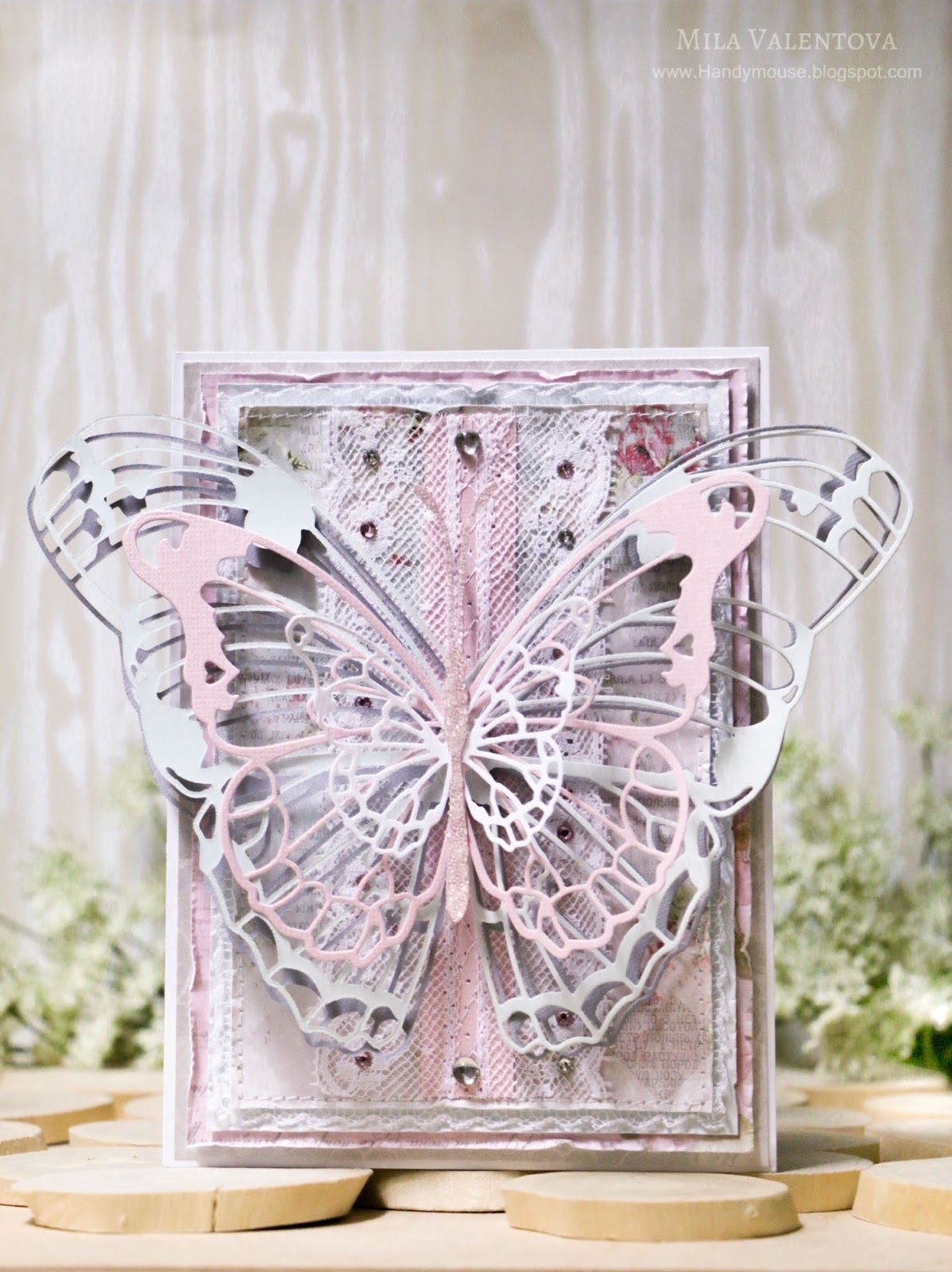Скрапбукинг открытка. Невесомая бабочка. Подарок на День матери. Мила Валентова.