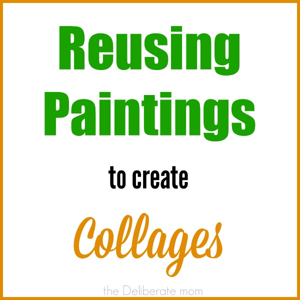 Reusing old children's paintings to make collages. #kids #activities #art