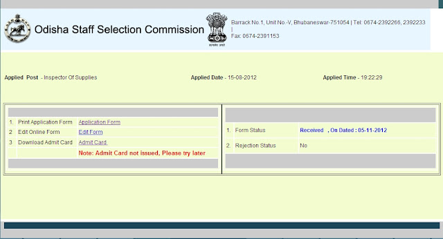 Download Admit Card Suppy Inspector 2012 Orissa Staff Selection Commission