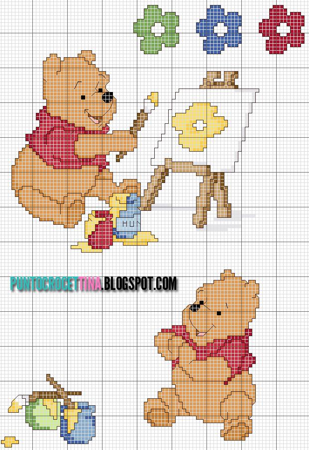 Schema punto croce winnie the pooh pittore gratis for Punto croce disney winnie the pooh