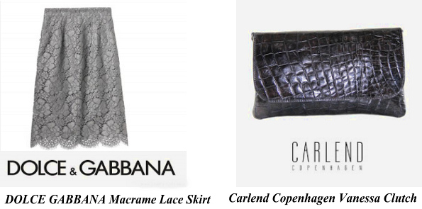 Princess Mary's DOLCE GABBANA Skirt & Carlend Copenhagen Vanessa Clutch Bag