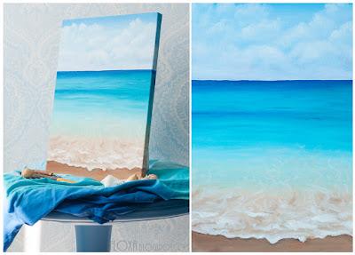 море написано маслом, штиль. Голубой, синий, бирюзовый.