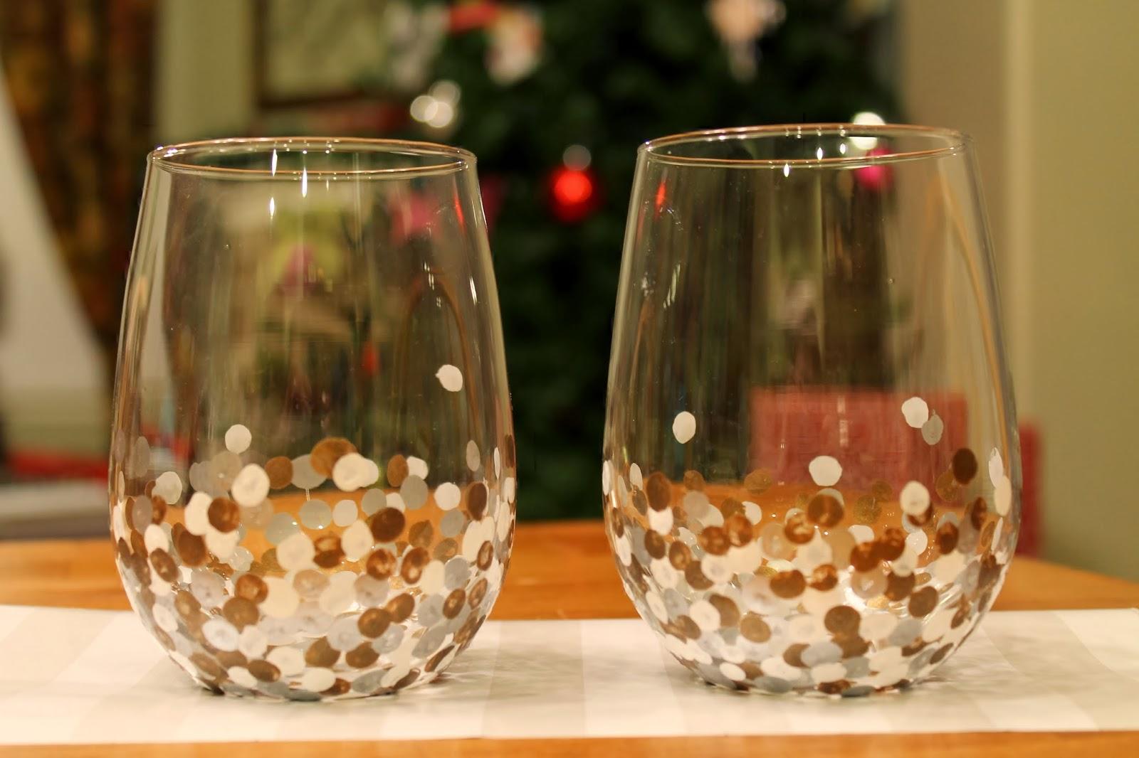 Tucker up diy anthro inspired painted wine glasses for How to make painted wine glasses