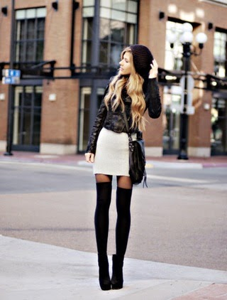 High socks make for a great way to look fashionable and still stay warm during fall