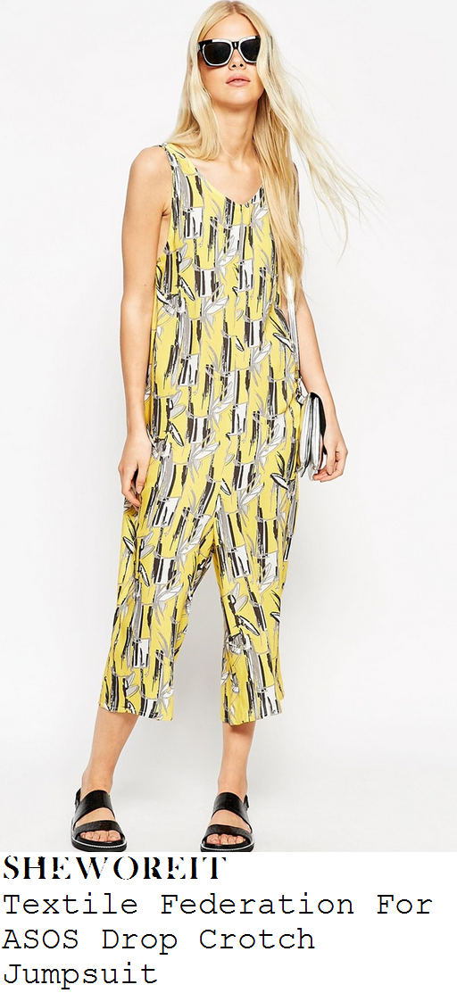 paloma-faith-yellow-leaf-print-sleeveless-cropped-jumpsuit