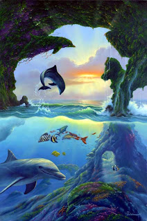 7 dolphins optical illusion