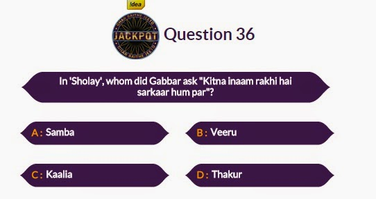 Kaun Banega Maha Crorepati GBJJ Question No.35 - 9th October 2014