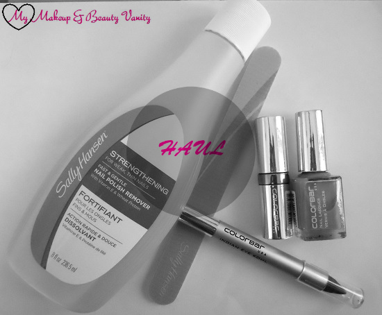 haul+sally hansen nail paint remover+colorbar+lipstick+nail polish+kohl