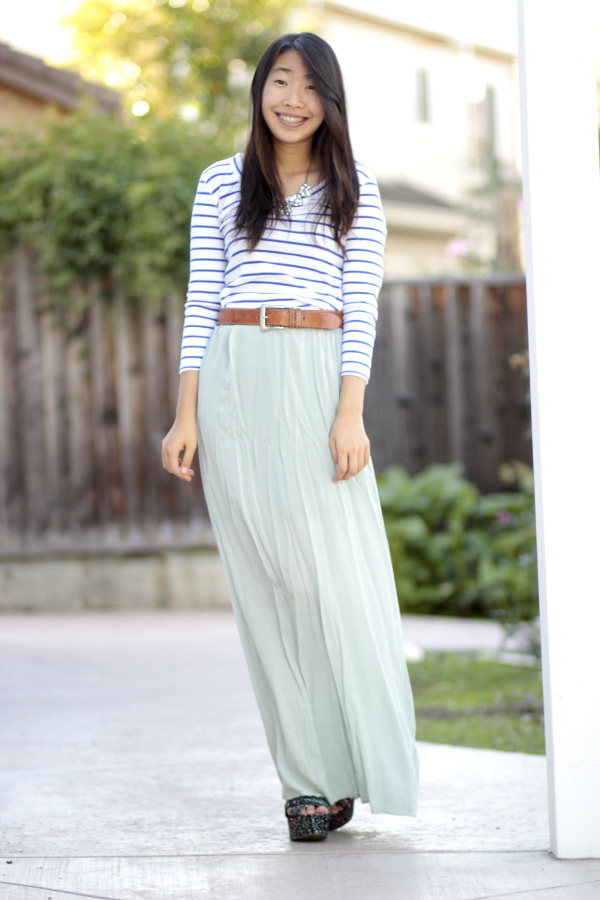 mint maxidress blue stripe top steve madden wedges