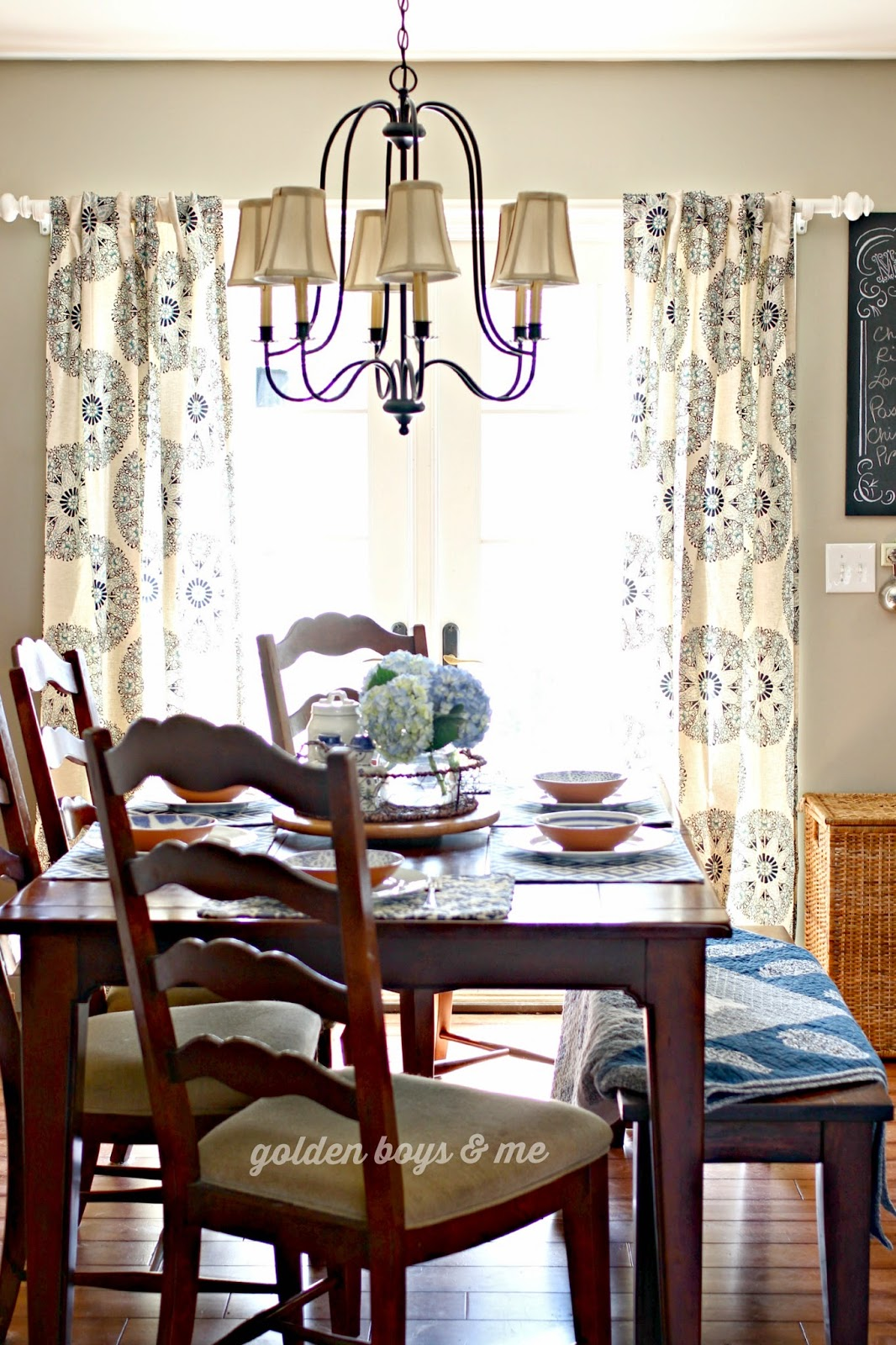 Brondy chandelier, Target Threshold Medallion curtain panels in blue and white dining room-www.goldenboysandme.com