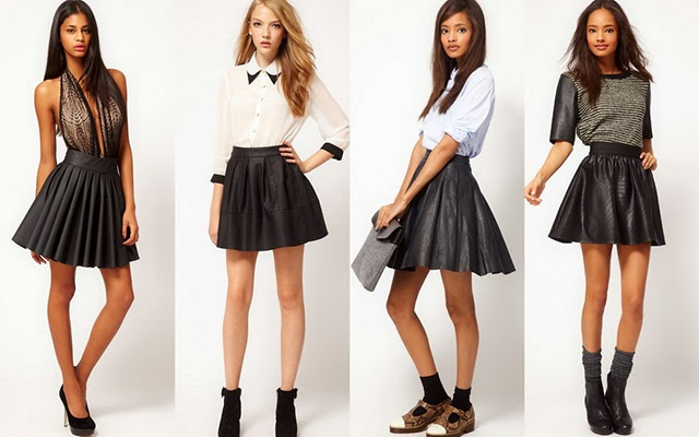 Leather Skirts Feature Imbraci Stil Casual