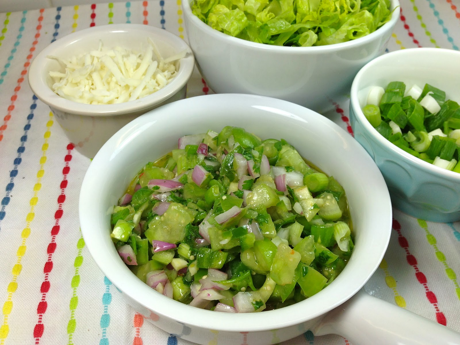 Tomatillo Pico de Gallo, Shredded Romaine, and Queso Blanco, Photo: NK