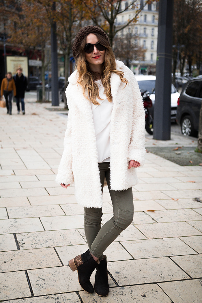 large white fur coat
