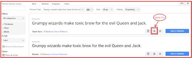 google web fonts quick use