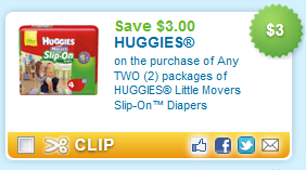 $3.00 off TWO HUGGIES Little Movers Slip-On