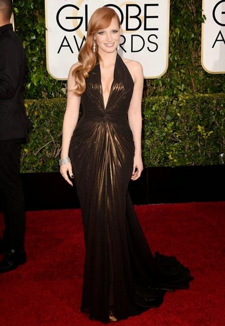 Джесика Частейн в бронзова рокля Versace на наградите Златен глобус 2015