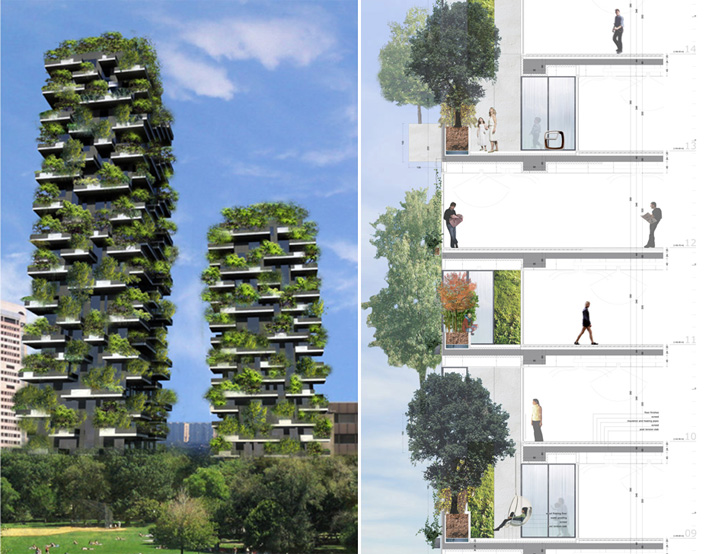 world of architecture bosco verticale milan vertical forest by stefano boeri. Black Bedroom Furniture Sets. Home Design Ideas