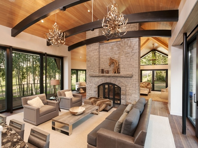 World of architecture snowmass village mountain home for Mountain home interiors