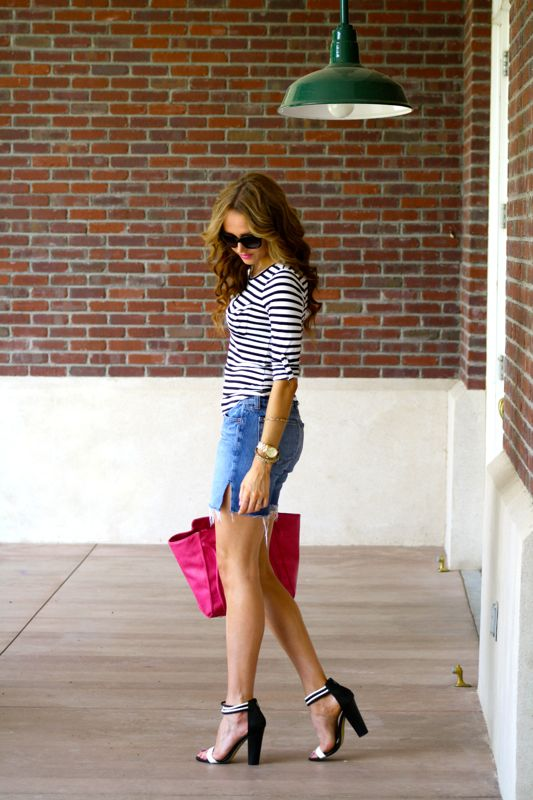 Golden Divine Blog- Denim Cut Offs and Stripes | Casual Friday