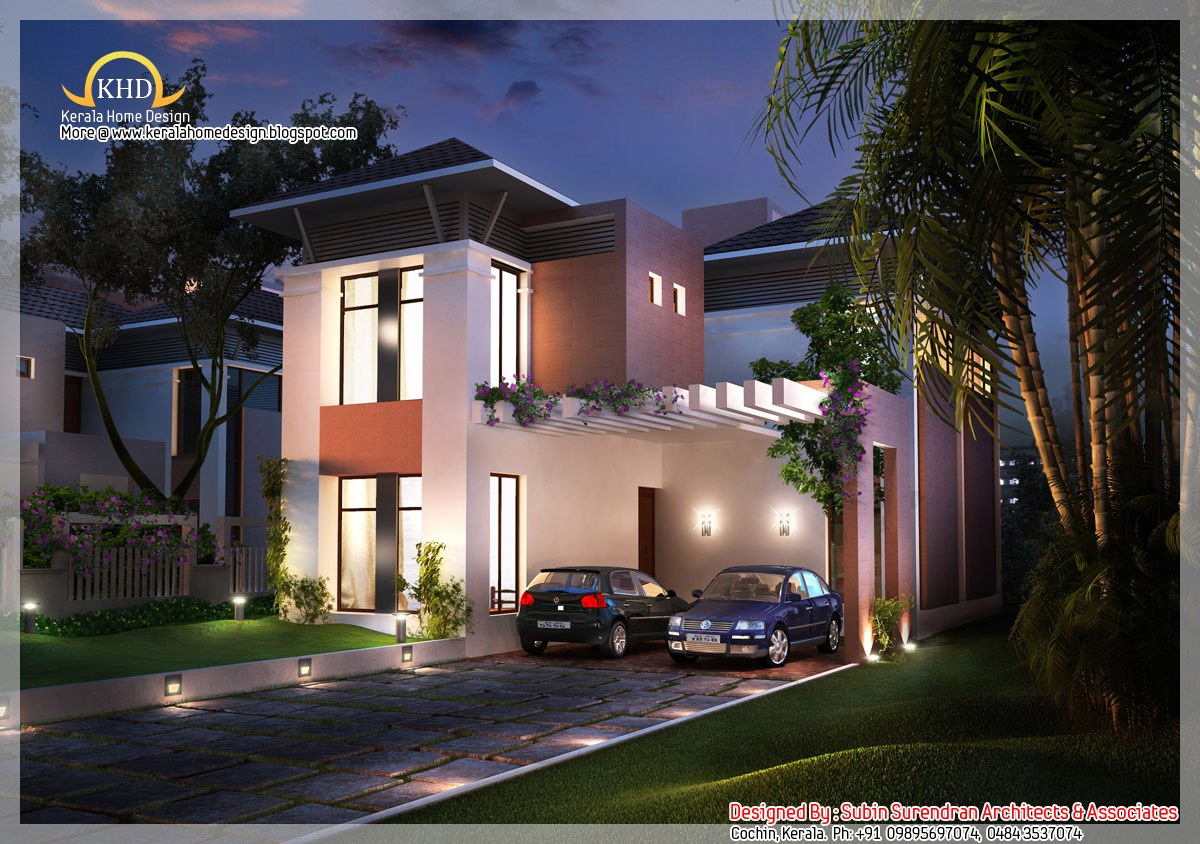 Beautiful house elevation 2200 sq ft kerala home for Car porch designs for houses