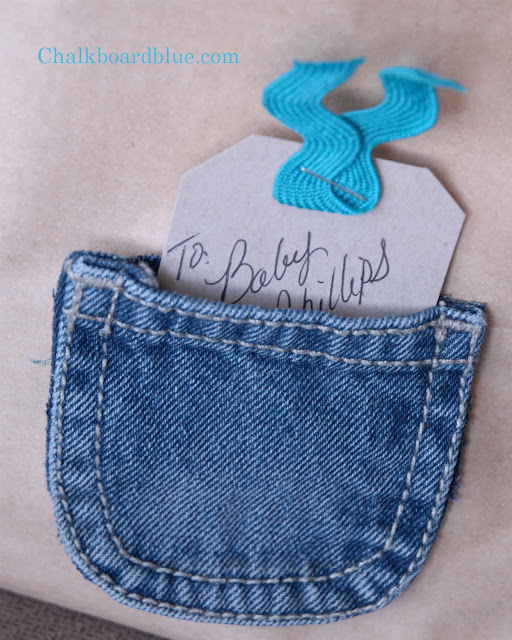 Chalkboard Blue Quick Inexpensive Baby Gift Wrap Idea