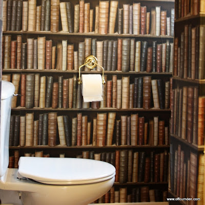 Library wallpaper in washroom