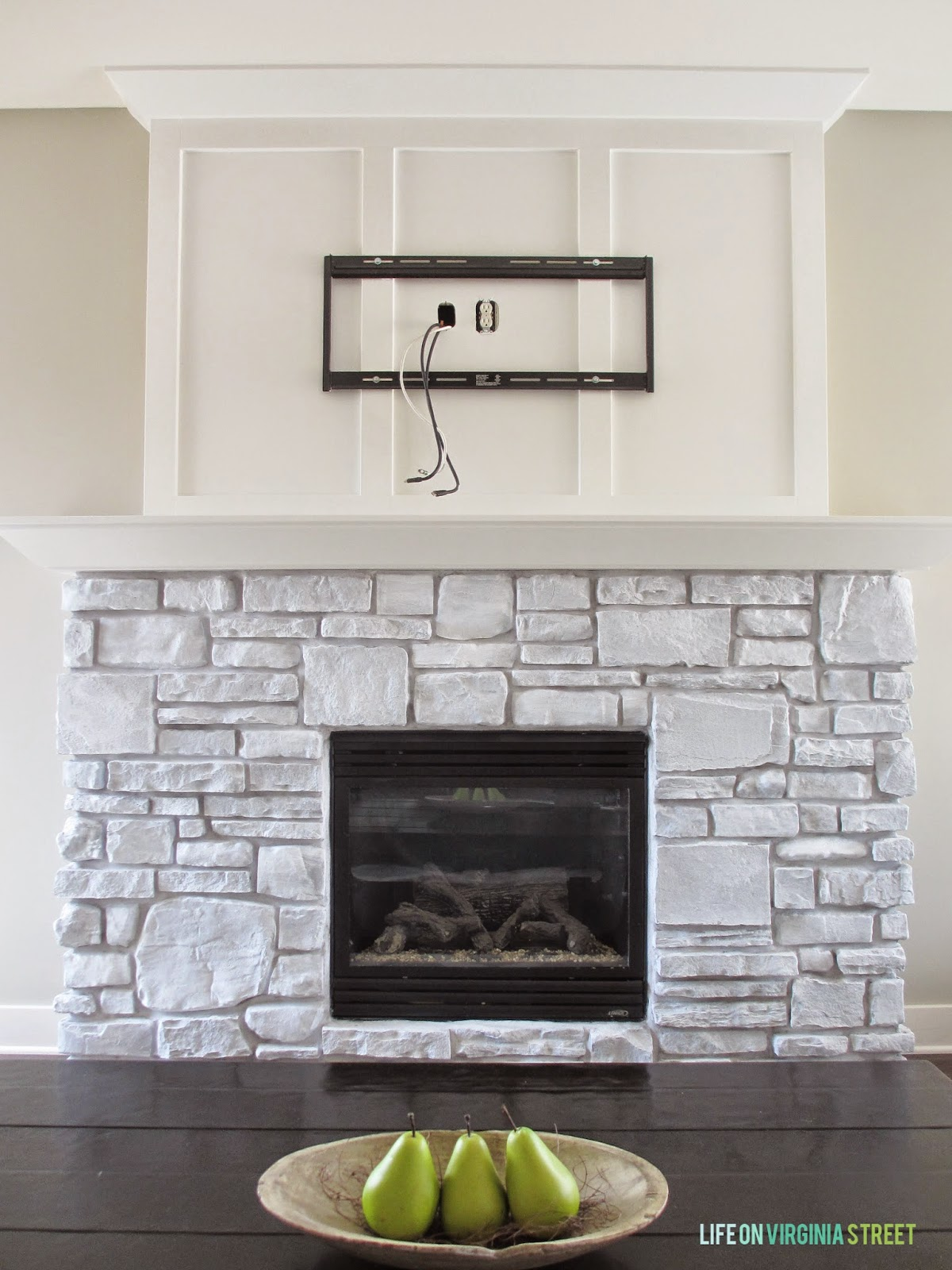 white washed stone fireplace life on virginia street. Black Bedroom Furniture Sets. Home Design Ideas