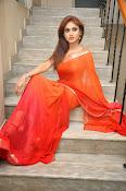 Sony Charista Glamorous in Saffron saree-thumbnail-13