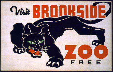 printables, art, federal art project, animal poster, wildlife, free printable, vintage, vintage posters, retro prints, classic posters, graphic design, free download, wpa, Visit Brookside Zoo Free - Vintage WPA Animal Poster
