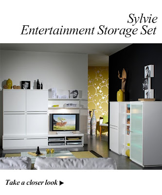 Sylvie High Gloss White Entertainment Unit and Storage Set from Furniture123