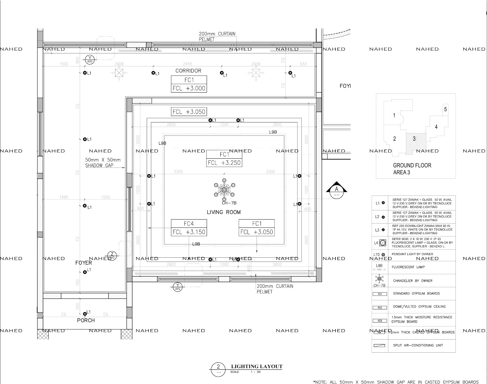 private villa ceiling setout layout (detail/working drawing
