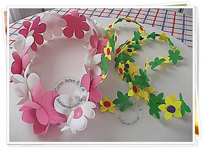 Colar com flores de E.V.A para o carnaval