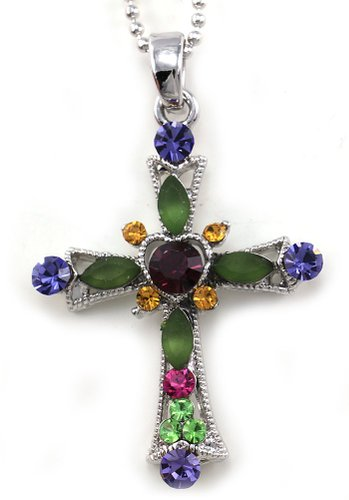 Multicolor Heart Christian Cross Charm Pendant Necklace Designer Cross Fashion Jewelry    3 custome
