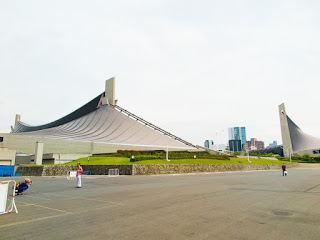 Yoyogi National Stadium Gymnasium No.1 viewed from the north, with Gymnasium No.2 to the right, Tokyo, Japan.