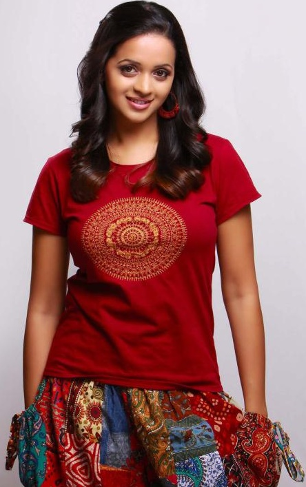 Bhavana in Red Hot T-Shirt