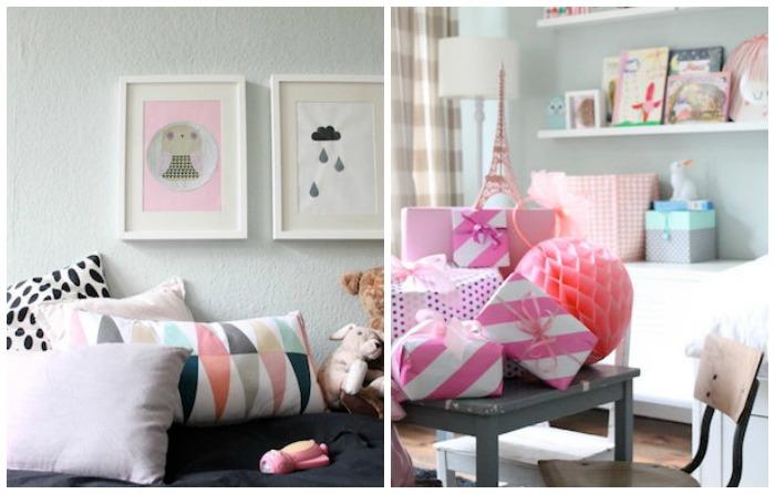 dormitorio de niña en blanco con detalles de diseño e Ikea