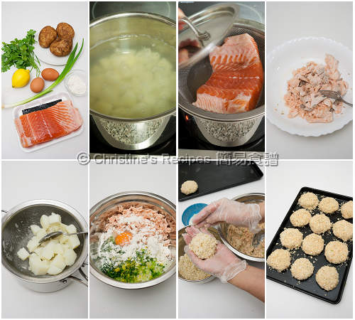 三文魚餅製作圖 How To Make Salmon Fish Cakes