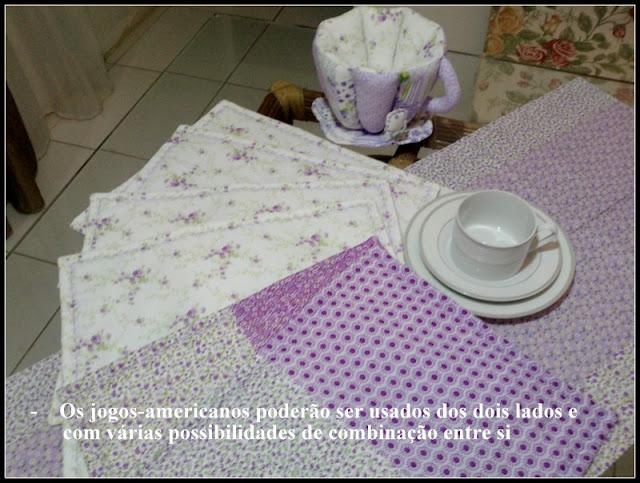 conjunto completo: jogo-americano, trilho-de-mesa, xícara-de-tecido