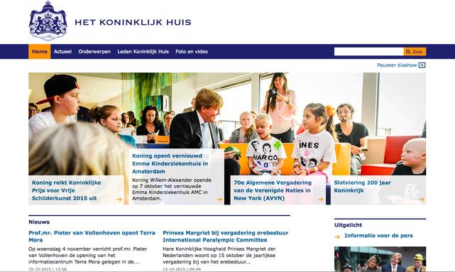 Página web de la casa real holandesa