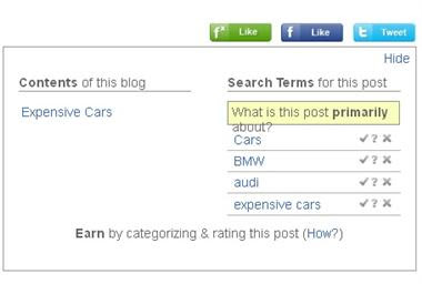 keywords for categorizing and rating blog posts on FanBox