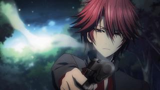 anime guy gun red hair