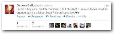 Tweet Débora Bello sobre su hija