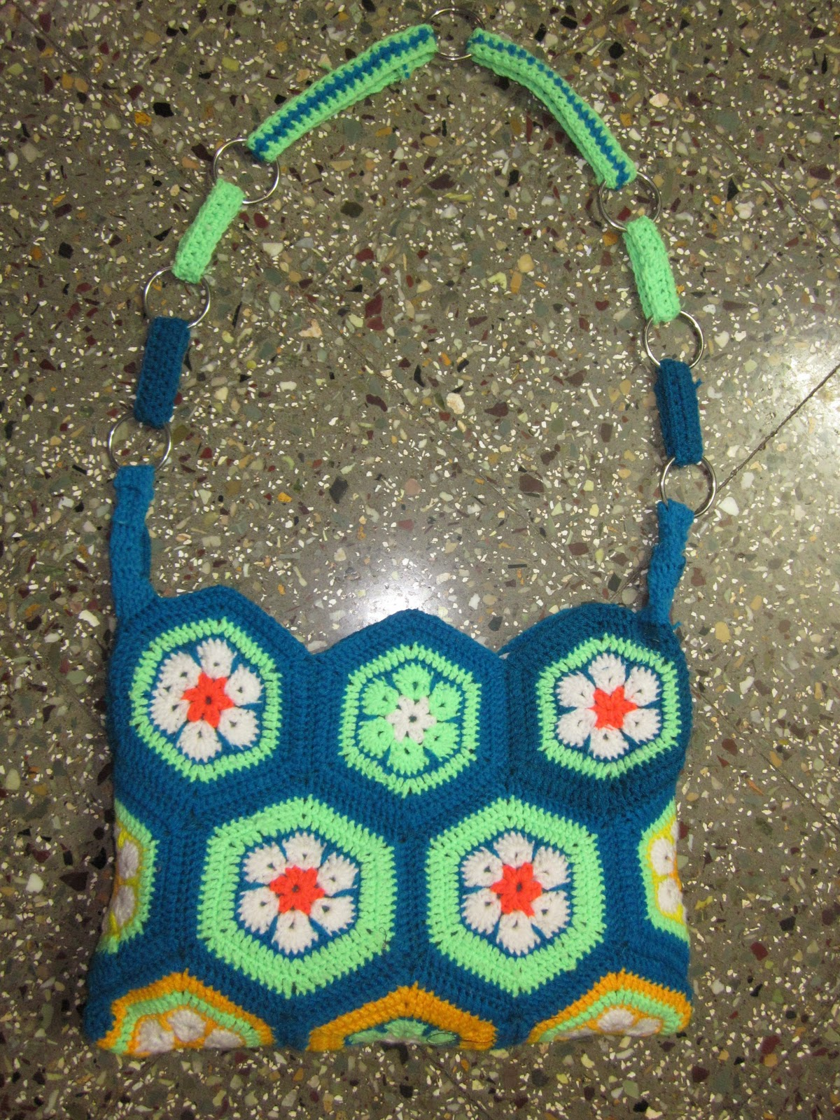 Crochet Hexagon Bag : learned to make the hexagon from here .... and here is the outcome ...