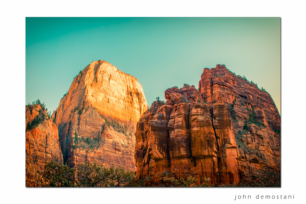 Zion National Park, Landscape Photography, Mountains, rocks, rugged terrain, sunset, colorful geological features, golden rocky mountains