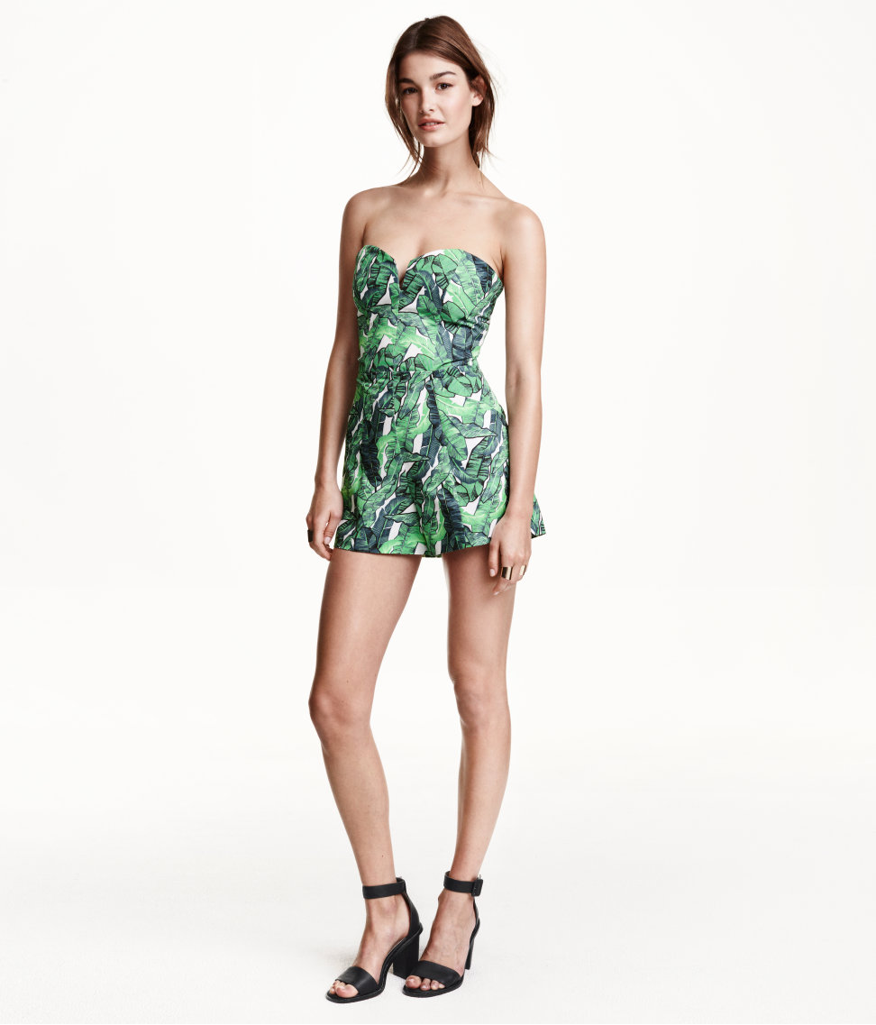 HG090 H&M Inspired Tropical Print Strapless Playsuit