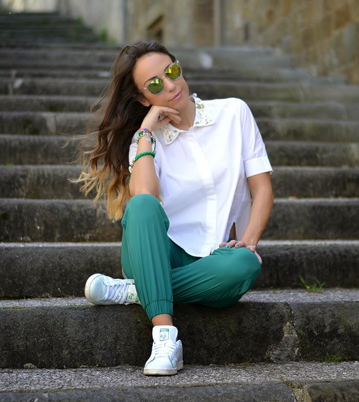 look bianco verde smeraldo