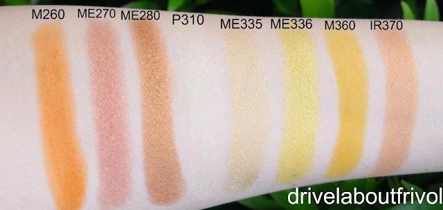 swatch Shu Uemura eyeshadow M260 M 260, ME270 ME 270, ME280 ME 280, P310 P 310, ME335 ME 335, ME336 ME 336, M360 M 360, IR370 IR 370